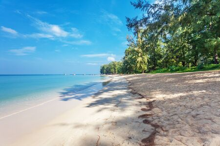 Beautiful tropical beach with  sea view, clean water & blue sky. Nature background Stock Photo - 17703208