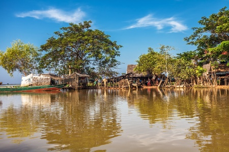 The village on the water. Tonle sap lake. Cambodia photo