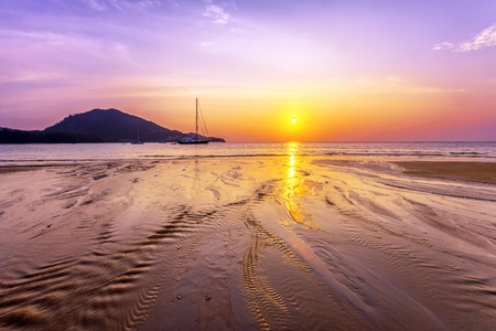 Tropical beach at beautiful sunset  Nature background  photo