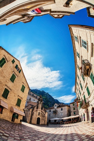 Fish-eye lens look of the old city on sky background  Kotor  Montenegro Stock Photo - 18152197