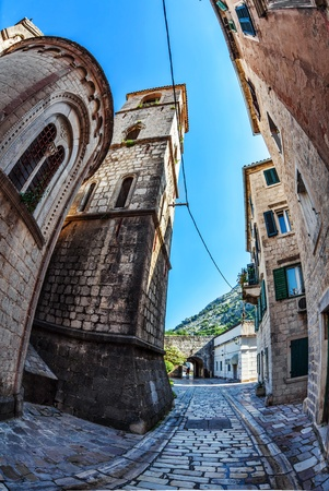 Fish-eye lens look of the old city on sky background  Kotor  Montenegro Stock Photo - 18152069