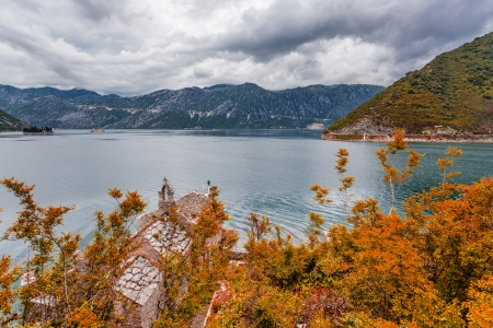sea and mountains in bad rainy weather  Montenegro Stock Photo - 18152222