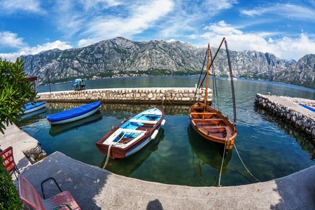 A small bay with boats  Kotor  Montenegro Stock Photo - 18152134