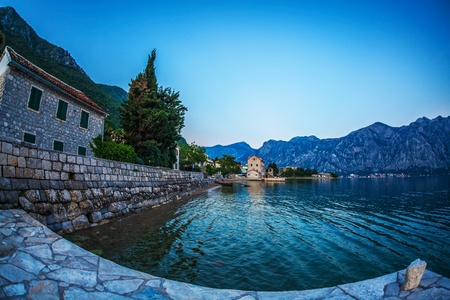 Evening in sea town on mountains background  Montenegro Stock Photo - 18152078