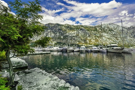 A small bay with boats  Kotor  Montenegro Stock Photo - 18152225