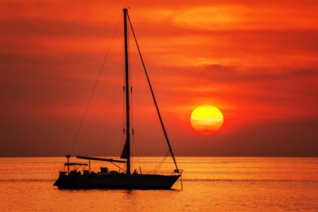 boat on a background of a beautiful sunset Stock Photo - 18456216