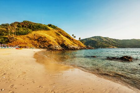Beautiful tropical beach with  sea view, clean water & blue sky. Nature background Stock Photo - 18456270