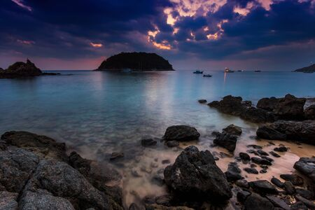 Before night on the white sand tropical beach with tire. Phuket. Thailand Stock Photo - 18456225