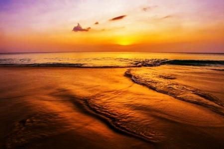 Tropical beach at beautiful sunset. Nature background Stock Photo - 18456187