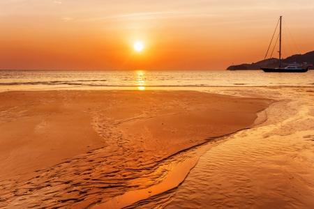 Tropical beach at beautiful sunset. Nature background Stock Photo - 18456260