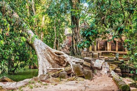 Ancient buddhist khmer temple in Angkor Wat complex, Cambodia Stock Photo - 18910838
