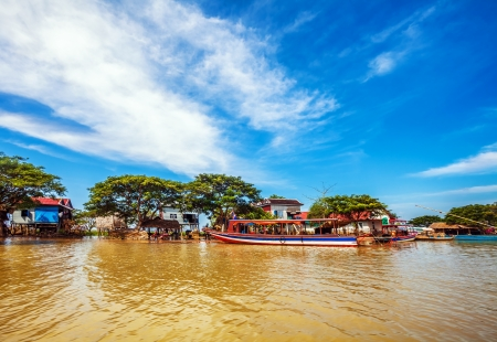 The village on the water. Tonle sap lake. Cambodia Stock Photo - 18910697
