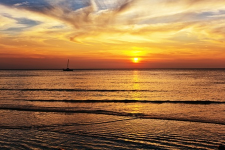 Tropical beach at beautiful sunset. Nature background Stock Photo - 18910751