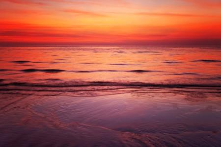 Tropical beach at beautiful sunset. Nature background Stock Photo - 18910695