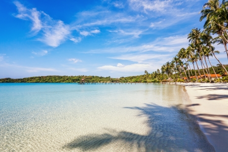 Beautiful tropical beach with  sea view, clean water & blue sky. Nature background Stock Photo - 18910702