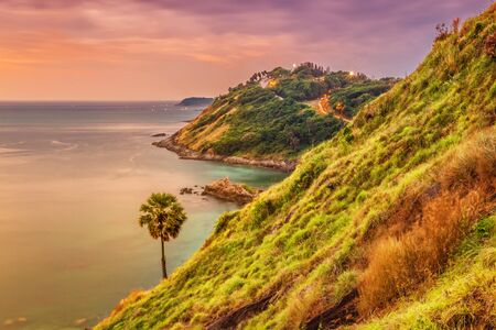 Panoramic view on sunset sea, small island, palms in fish-eye lense. Nature background Stock Photo - 18910808