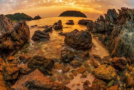 Tropical beach at beautiful sunset. Nature background Stock Photo - 18910773
