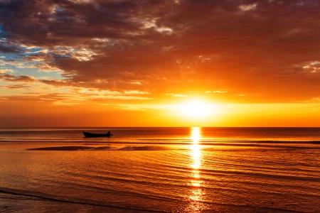 Tropical beach at beautiful sunset. Nature background Stock Photo - 18910692