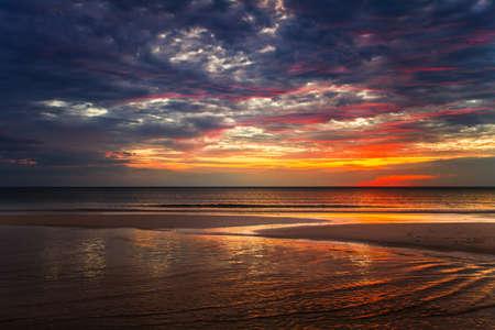 Tropical beach at beautiful sunset. Nature background Stock Photo - 18910689