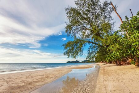 Beautiful tropical beach with  sea view, clean water & blue sky. Nature background Stock Photo - 18910786