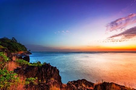 Tropical beach at beautiful sunset. Nature background Stock Photo - 18910693