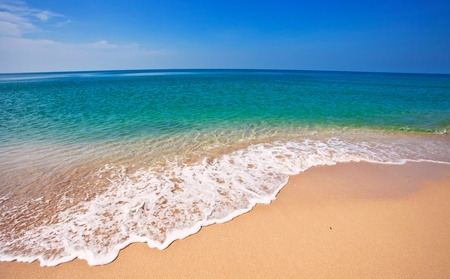 Beautiful tropical beach with  sea view, clean water & blue sky. Nature background Stock Photo - 18910698