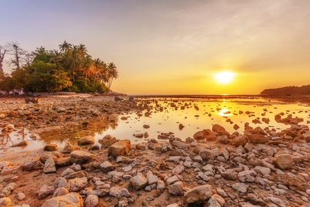 Tide on tropical beach at beautiful sunset. Nature background  photo