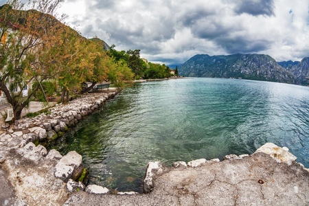 sea and mountains in bad rainy weather  Montenegro Stock Photo - 19324117