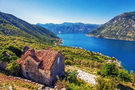 The old house with view on the sea and mountains  Montenegro Stock Photo - 19324121