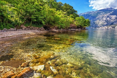 beach with sea and mountain views   Montenegro photo