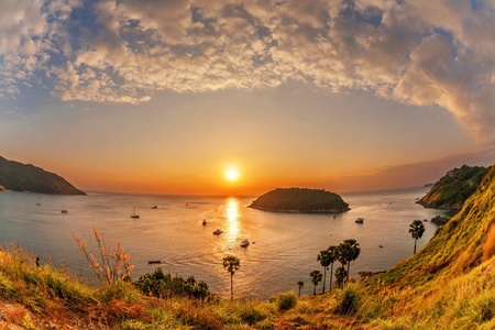 Tropical sea at beautiful sunset. Nature background. Fish-eye view photo