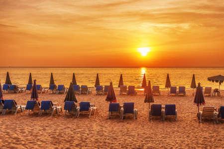 Tropical beach at beautiful sunset. Nature background Stock Photo - 19585956