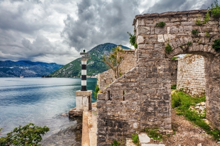 The old church overlooking the sea in bad weather  Montenegro