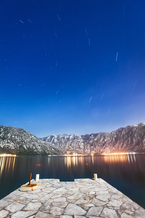 night on the stones beach.  Montenegro  photo