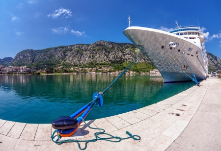 cruise ship in the port of Kotor. Montenegro