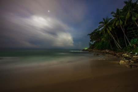 Night on the white sand tropical beach  Phuket  Thailand photo