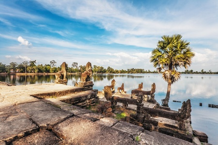 angkor wat: River near ancient buddhist khmer temple in Angkor Wat complex, Cambodia