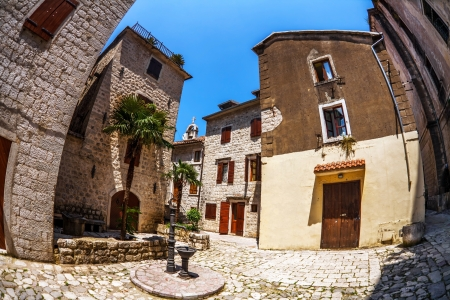 kotor: Fish-eye lens look of the old city on sky background  Kotor  Montenegro Stock Photo