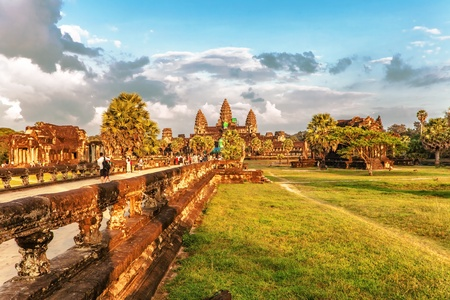subsequently: SIEM REAP, CAMBODIA - NOVEMBER 15   Angkor Wat is a Hindu, then subsequently Buddhist temple complex and the largest religious monument in the world on 15 November 2011   Editorial