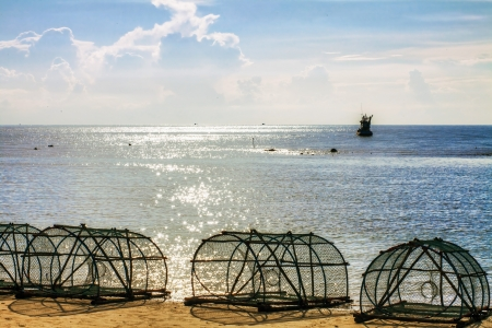 Big fishing gear at the beach  Thailand  photo