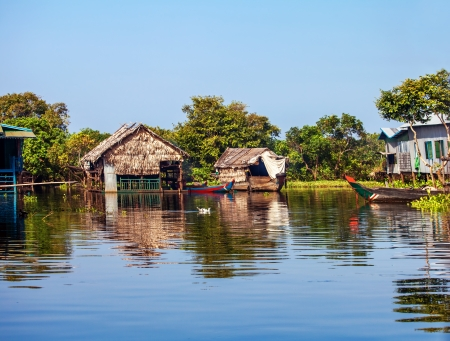 The village on the water  Tonle sap lake  Cambodia photo
