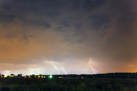Thunderstorm with lightning in summer field  photo