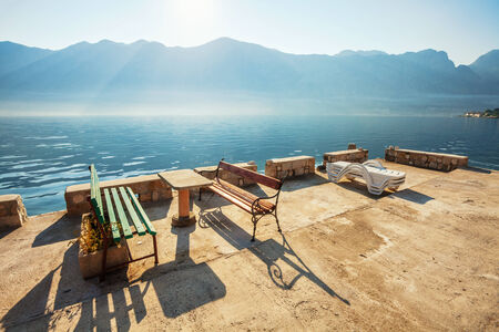 Early misty morning with sea and mountain views  Kotor bay  Montenegro photo