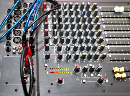 mixing board: Closeup of audio mixing console