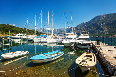 A small bay with boats  Kotor  Montenegro photo