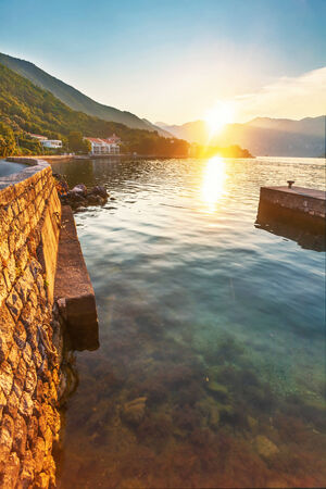 seafront with sea and mountain views in sunlights.  Montenegro photo