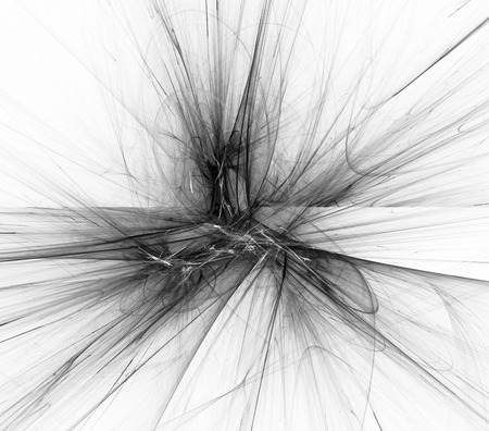 Digital abstract fractal background generated at computer in black and white. Stock Photo