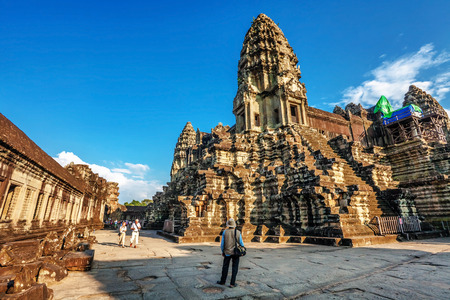 subsequently: SIEM REAP, CAMBODIA - NOVEMBER 15:  Angkor Wat is a Hindu, then subsequently Buddhist temple complex and the largest religious monument in the world on 15 November 2011. Editorial