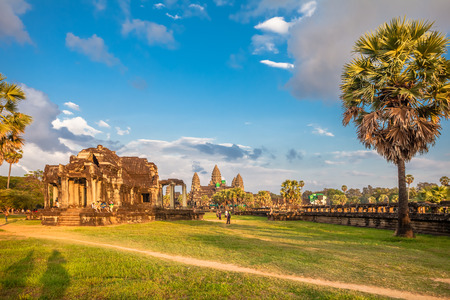 subsequently: SIEM REAP, CAMBODIA - NOVEMBER 15, 2011:  Angkor Wat is a Hindu, then subsequently Buddhist temple complex and the largest religious monument in the world.