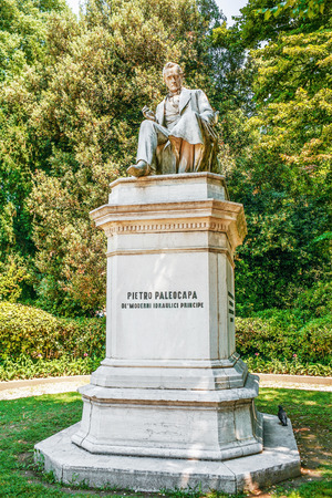 engineer's: VENICE, ITALY - JULY 7, 2007: Monument Pietro Paleocapa in Papadopoli's garden in Venice. Paleokapa (born 11111788 Province of Bergamo - died 02131869, Turin) - Italian engineer and politician